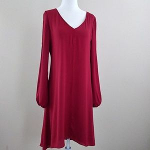 WHBM Red Split Front Chiffon Dress